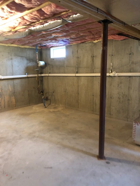 Basement waterproofing level 4 in Rhode Island before